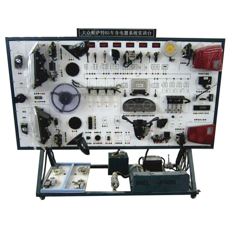 1、选用全新大众帕萨特B5发动机电控系统元件及车身电气系统制作; 2、配置包括:灯光、音响、仪表、雨刮系统;充电、起动。冷却系统;电动门窗、中控门锁、电动后视镜、中央接线板、进气、点火喷油系统实现动态演示;防盗、发动机电控系统传感器实现动态显示;电机驱动控制系统,电源系统,OBDII诊断接口、故障设置系统、测量面板和移动支架等 3、由220V的单相电机带动发电机给蓄电池充电,再由蓄电池给实训台供应12V 直流电 4、动态演示发动机燃油供给系统的工作,可在实训台上观察燃油喷射,火花塞动态点火过程 5、配备O