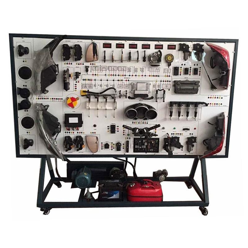 一、功能特点 1. 真实可运行的汽车车身电器系统,充分展示汽车仪表系统、灯光系统、照明系统、雨刮系统、起动系统、充电系统和点火系统的组成结构。 2. 操纵各种电器开关、按钮,真实演示汽车仪表系统、灯光系统、照明系统、雨刮系统、起动系统、充电系统和点火系统的工作过程。 3.